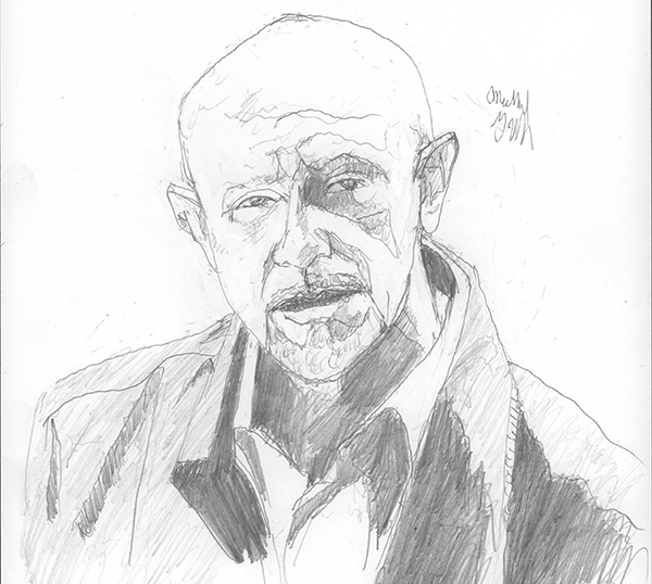Jonathan Banks as Mike Ehrmantraut, the former policeman who became a 'cleaner' for organized crime.  (Drawn from a screen cap from an episode of the show)